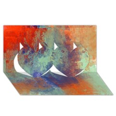 Abstract in Green, Orange, and Blue Twin Hearts 3D Greeting Card (8x4)
