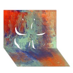 Abstract in Green, Orange, and Blue Clover 3D Greeting Card (7x5)