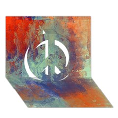 Abstract In Green, Orange, And Blue Peace Sign 3d Greeting Card (7x5)