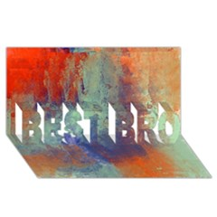 Abstract in Green, Orange, and Blue BEST BRO 3D Greeting Card (8x4)