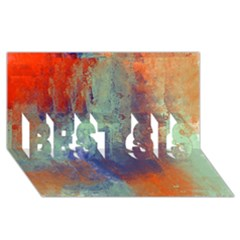 Abstract in Green, Orange, and Blue BEST SIS 3D Greeting Card (8x4)