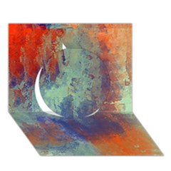 Abstract In Green, Orange, And Blue Circle 3d Greeting Card (7x5)