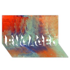 Abstract in Green, Orange, and Blue ENGAGED 3D Greeting Card (8x4)