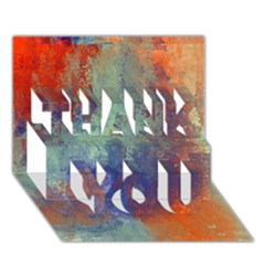 Abstract in Green, Orange, and Blue THANK YOU 3D Greeting Card (7x5)