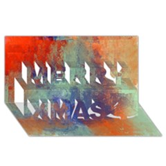 Abstract in Green, Orange, and Blue Merry Xmas 3D Greeting Card (8x4)