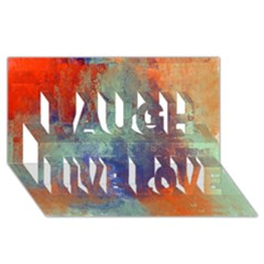 Abstract In Green, Orange, And Blue Laugh Live Love 3d Greeting Card (8x4)