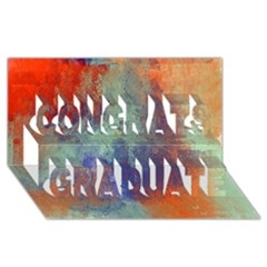 Abstract in Green, Orange, and Blue Congrats Graduate 3D Greeting Card (8x4)