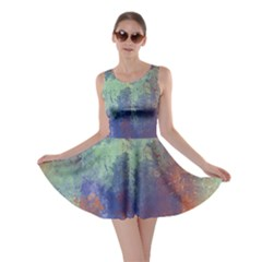 Abstract in Green, Orange, and Blue Skater Dresses