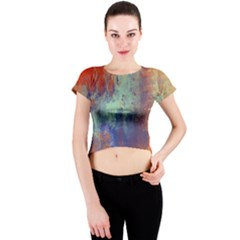 Abstract In Green, Orange, And Blue Crew Neck Crop Top