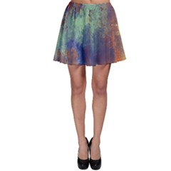Abstract in Green, Orange, and Blue Skater Skirts