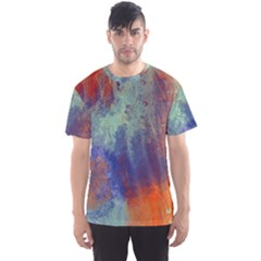 Abstract in Green, Orange, and Blue Men s Sport Mesh Tees