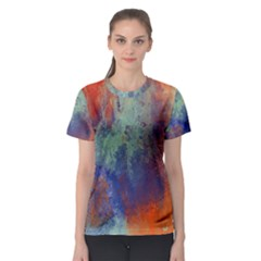 Abstract In Green, Orange, And Blue Women s Sport Mesh Tees