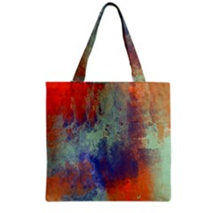 Abstract in Green, Orange, and Blue Grocery Tote Bags