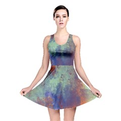 Abstract In Green, Orange, And Blue Reversible Skater Dresses