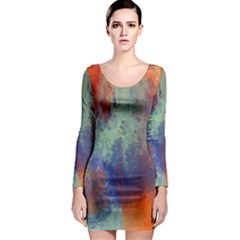 Abstract in Green, Orange, and Blue Long Sleeve Bodycon Dresses