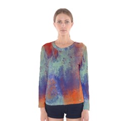 Abstract in Green, Orange, and Blue Women s Long Sleeve T-shirts