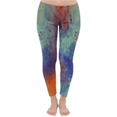 Abstract In Green, Orange, And Blue Winter Leggings