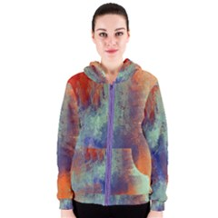 Abstract In Green, Orange, And Blue Women s Zipper Hoodies