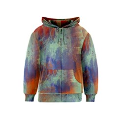 Abstract in Green, Orange, and Blue Kids Zipper Hoodies