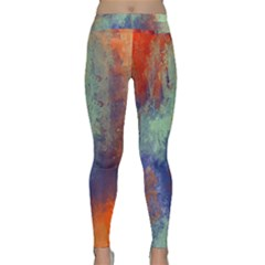 Abstract In Green, Orange, And Blue Yoga Leggings