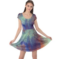 Abstract in Green, Orange, and Blue Cap Sleeve Dresses