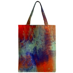 Abstract in Green, Orange, and Blue Zipper Classic Tote Bags
