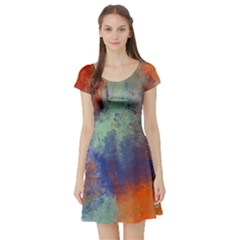 Abstract In Green, Orange, And Blue Short Sleeve Skater Dresses