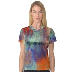 Abstract in Green, Orange, and Blue Women s V-Neck Sport Mesh Tee