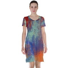 Abstract in Green, Orange, and Blue Short Sleeve Nightdresses