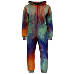Abstract in Green, Orange, and Blue Hooded Jumpsuit (Ladies)