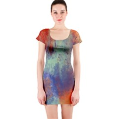 Abstract In Green, Orange, And Blue Short Sleeve Bodycon Dresses
