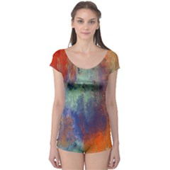 Abstract in Green, Orange, and Blue Short Sleeve Leotard
