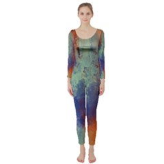 Abstract in Green, Orange, and Blue Long Sleeve Catsuit