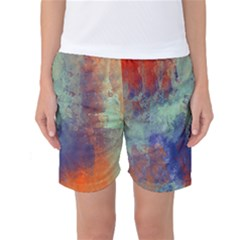 Abstract in Green, Orange, and Blue Women s Basketball Shorts
