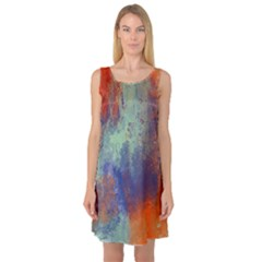 Abstract in Green, Orange, and Blue Sleeveless Satin Nightdresses
