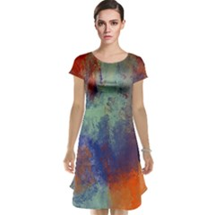 Abstract in Green, Orange, and Blue Cap Sleeve Nightdresses