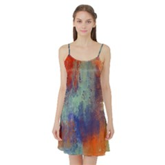 Abstract In Green, Orange, And Blue Satin Night Slip