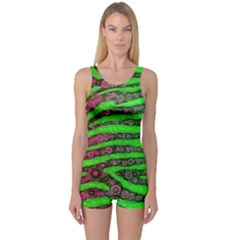 Florescent Green Zebra Print Abstract  Women s Boyleg One Piece Swimsuits