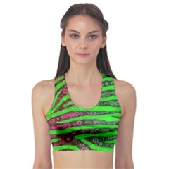 Florescent Green Zebra Print Abstract  Sports Bra