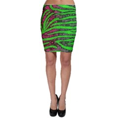 Florescent Green Zebra Print Abstract  Bodycon Skirts
