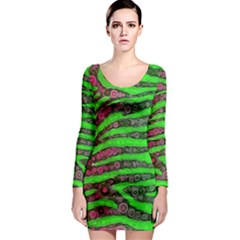 Florescent Green Zebra Print Abstract  Long Sleeve Bodycon Dresses