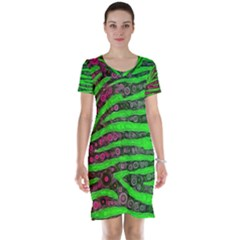 Florescent Green Zebra Print Abstract  Short Sleeve Nightdresses