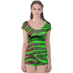 Florescent Green Zebra Print Abstract  Short Sleeve Leotard