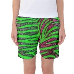 Florescent Green Zebra Print Abstract  Women s Basketball Shorts