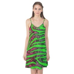 Florescent Green Zebra Print Abstract  Camis Nightgown