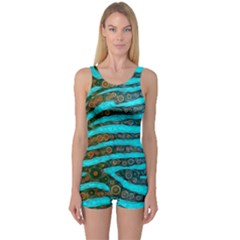 Turquoise Blue Zebra Abstract  Women s Boyleg One Piece Swimsuits
