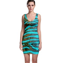 Turquoise Blue Zebra Abstract  Bodycon Dresses