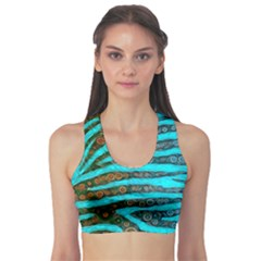 Turquoise Blue Zebra Abstract  Sports Bra