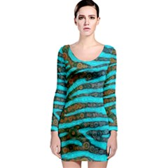 Turquoise Blue Zebra Abstract  Long Sleeve Bodycon Dresses