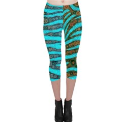 Turquoise Blue Zebra Abstract  Capri Leggings